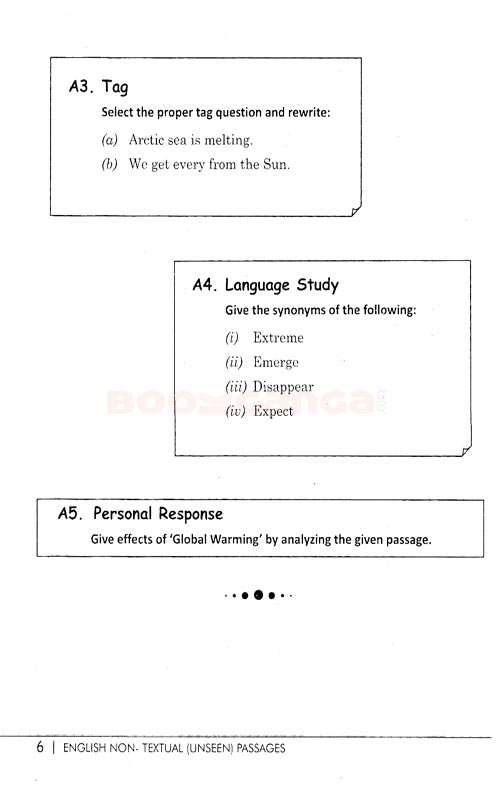English Unseen Passages For Std  9th and 1oth